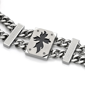 Leaf Twin Steel Carbon Fibre Bracelet