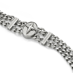 Cross Twin Steel Bracelet