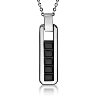 Square Rectangular Pendant with Necklace