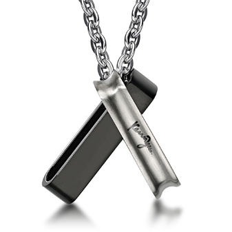 Double Rectangular Ring Pendants with Necklace