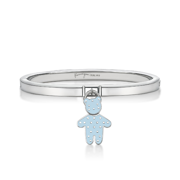 Baby Blue Dot Pattern Bear Pendant With Steel Bangle
