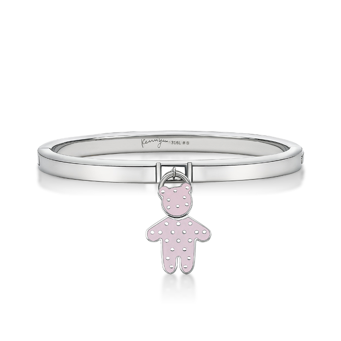 Pink Dot Pattern Bear Pendant With Steel Bangle