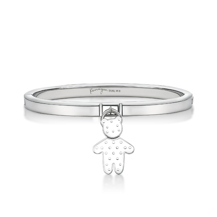 White Dot Pattern Bear Pendant With Steel Bangle