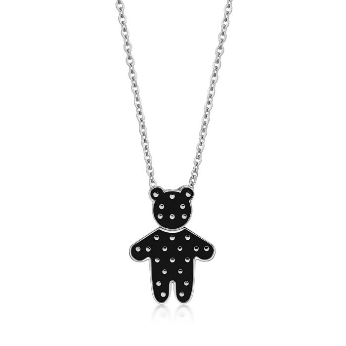 Black Dot Pattern Bear Pendant With Steel Necklace