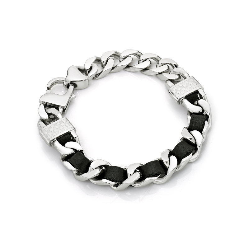 Black leather screw bracelet