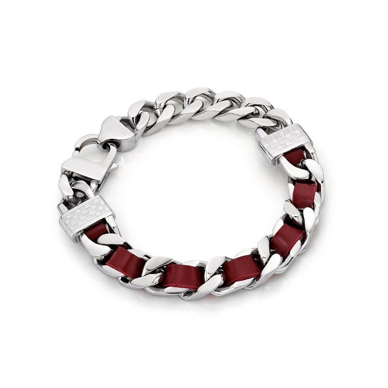 Red Leather Screw Bracelet