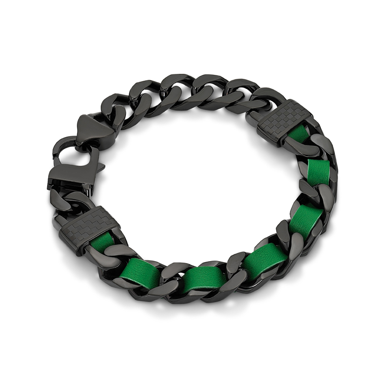 Green Leather Screw Ip Black Bracelet
