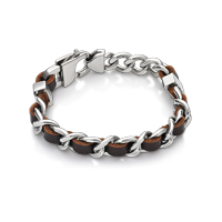 Brown Leather Screw Bracelet