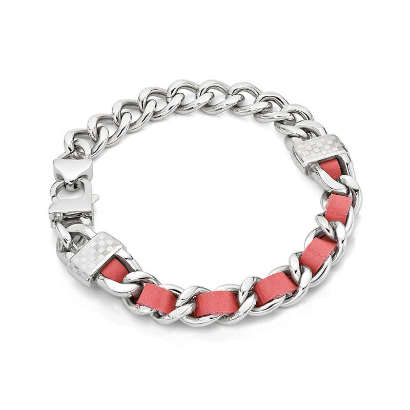 Pink Leather Screw Bracelet