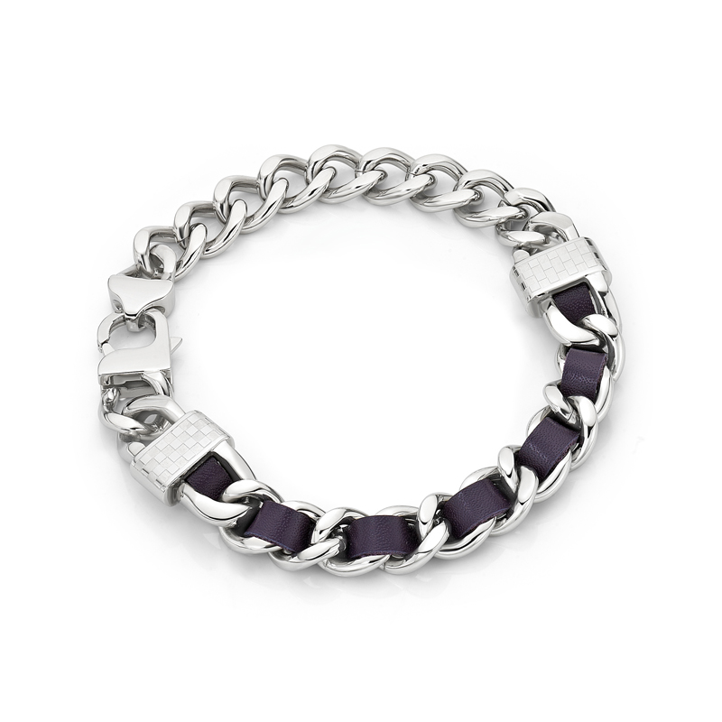 Purple Leather Screw Bracelet