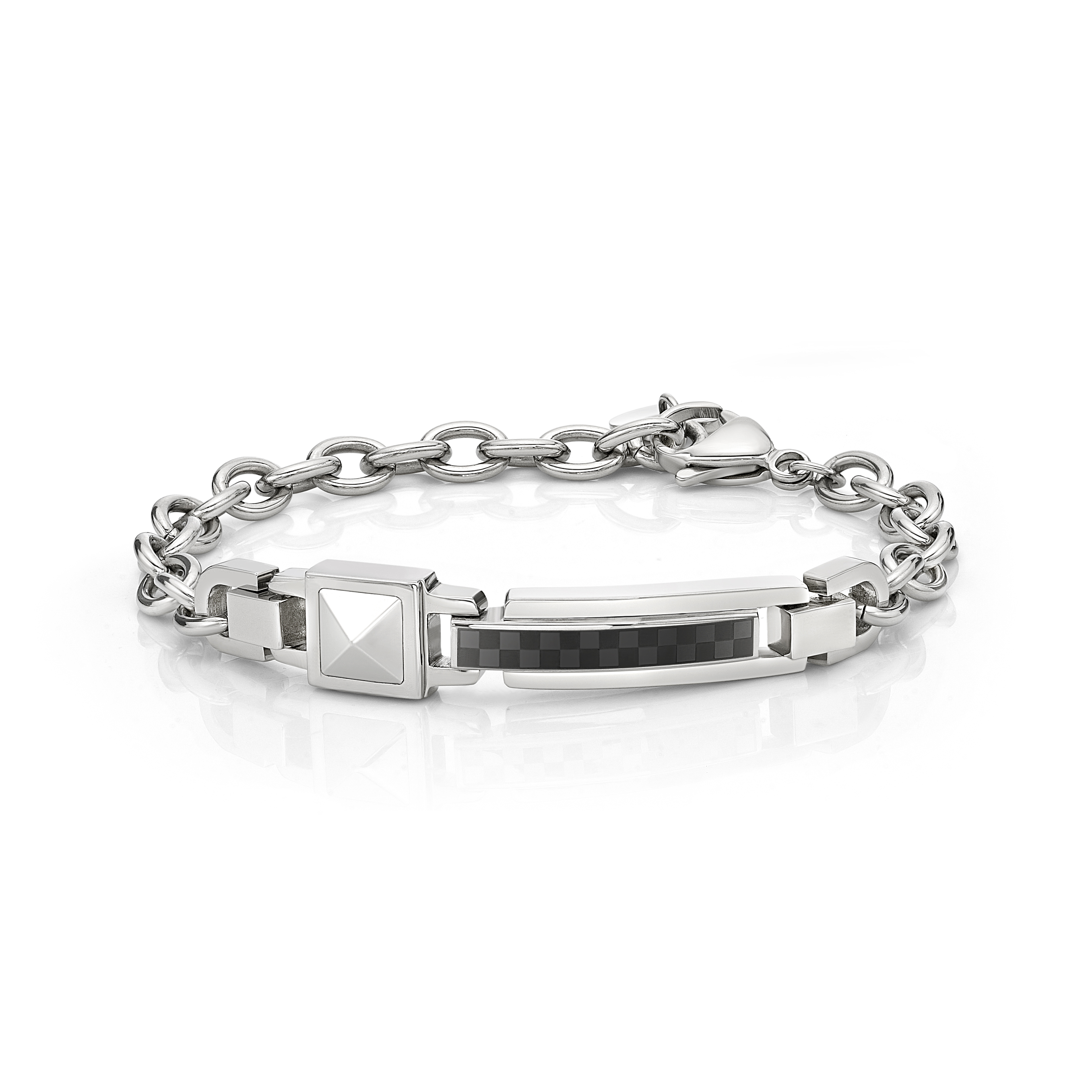 Steel Rivet Bracelet with Black square pattern