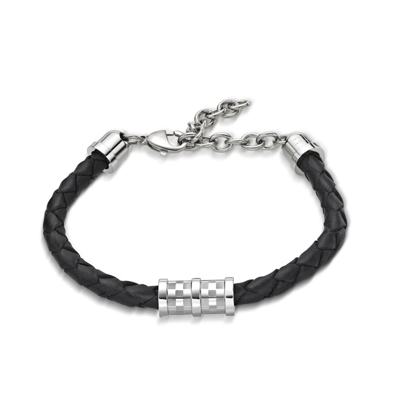 Square pattern steel cylinders with black leather bracelet