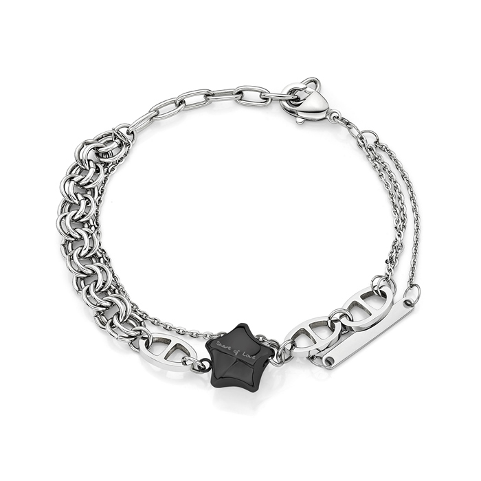 Share Of Love Ip Black Lucky Star Steel Bracelet