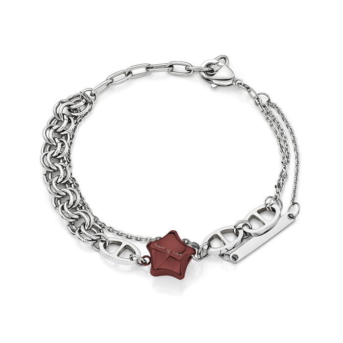 Share Of Love Ip Brown Lucky Star Steel Bracelet