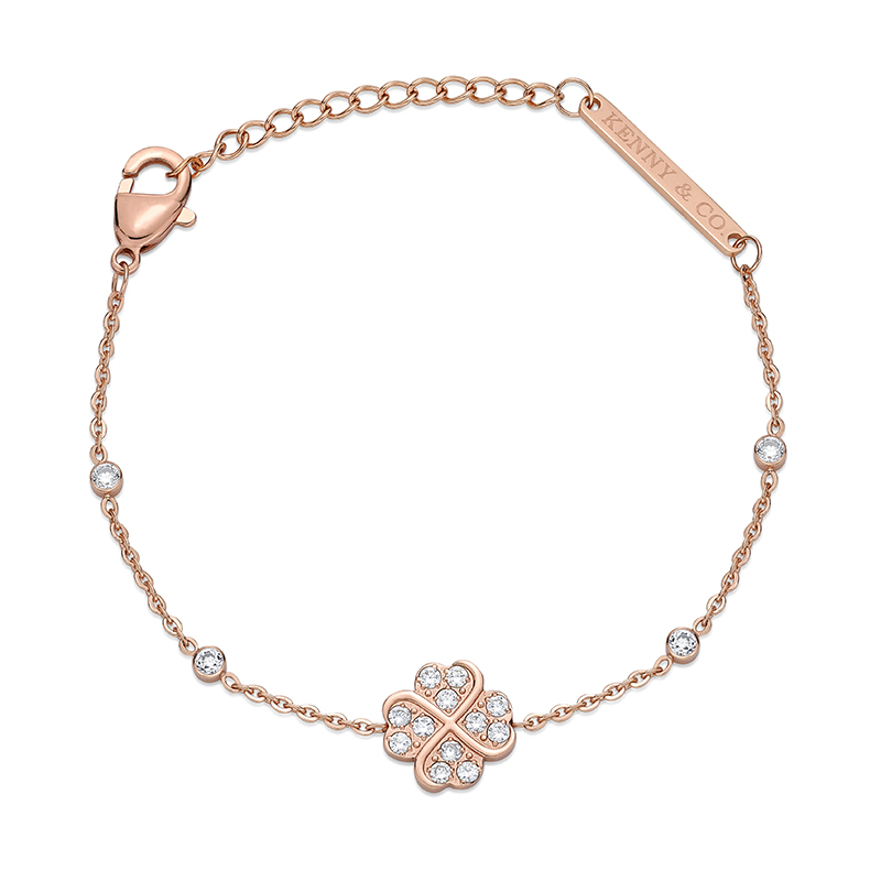 14K Rose Gold Plated Bracelet with Clovers Crystal Charm