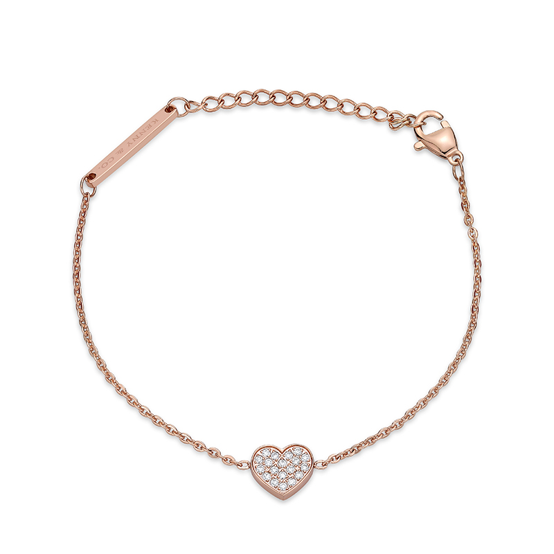 14K Rose Gold Plated Bracelet with Heart Crystal Charm