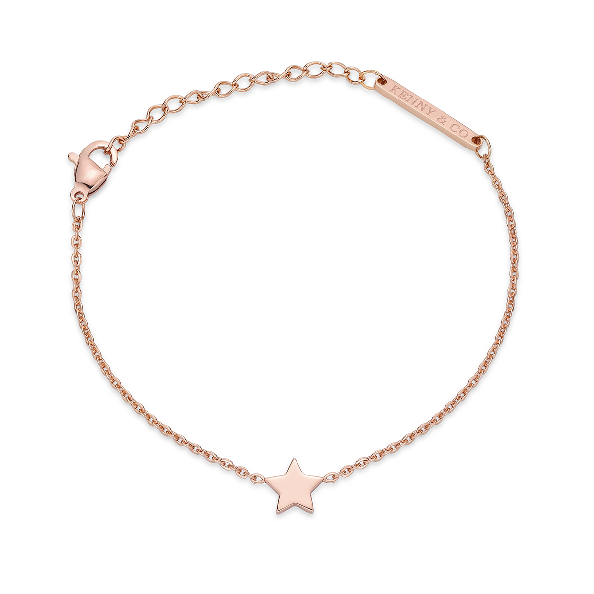 14K Rose Gold Plated Bracelet with Star Charm