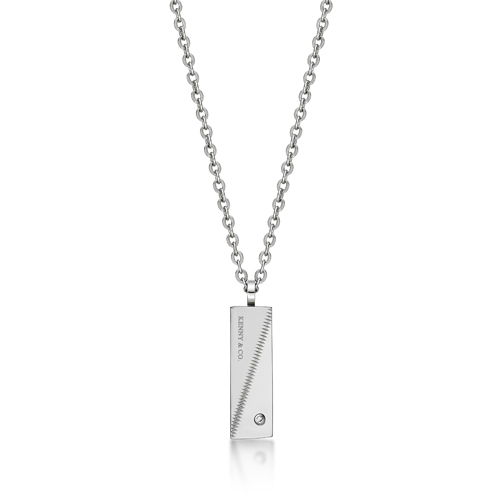 Dimensional Cut Steel Pendant Necklace with Crystal