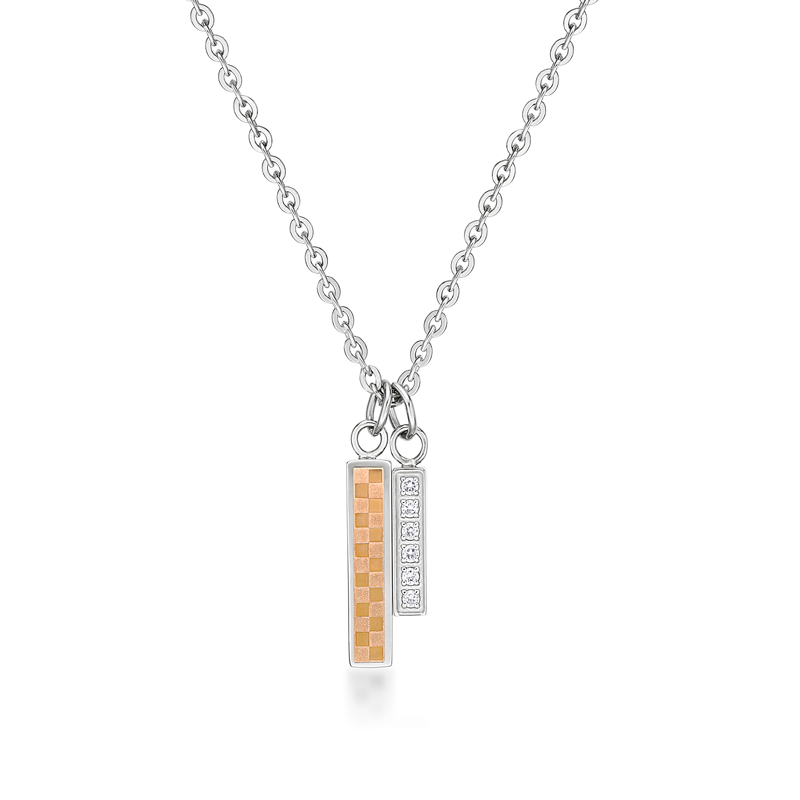 Ip Rose Gold Square Pattern Pendant with Crystals