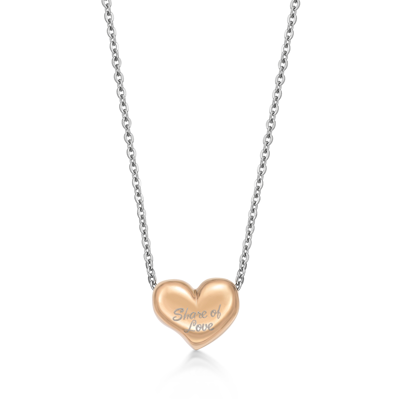 Ip Rose Gold Share of Love Heart Pendant