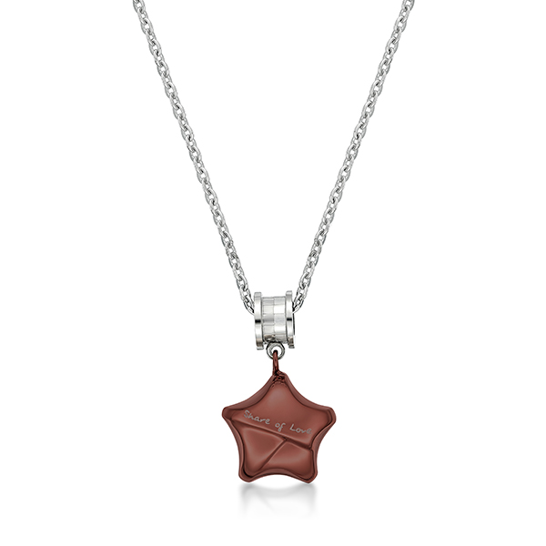 """Share Of Love"" Ip Brown Lucky Star with Roll Steel Necklace"