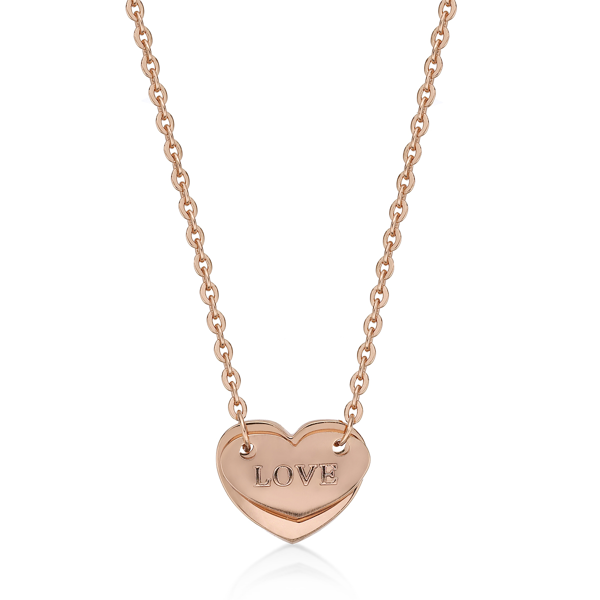 14K Rose Gold Plated Heart Shaped Steel Necklace