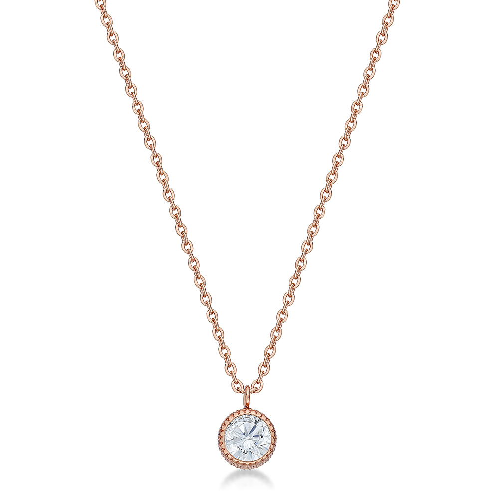 14K Rose Gold Plated with Crystal Pendant Steel Necklace