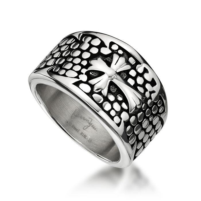 Cross with flower Steel Ring