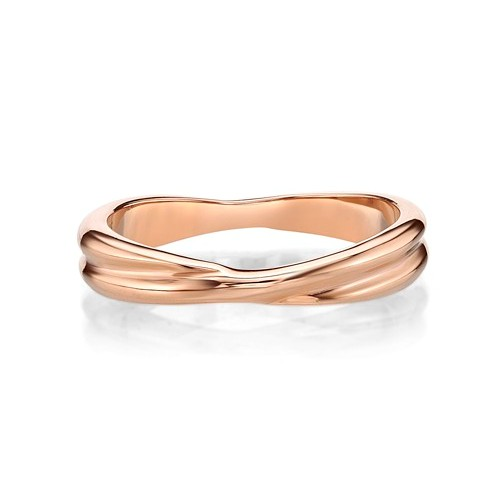 Ip Rose Gold Steel Twist Ring