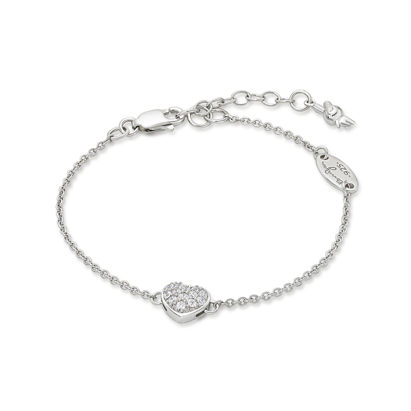 Rabbit C. Bracelet in RH. Plated (Hearts & Arrow Crystals on Hea
