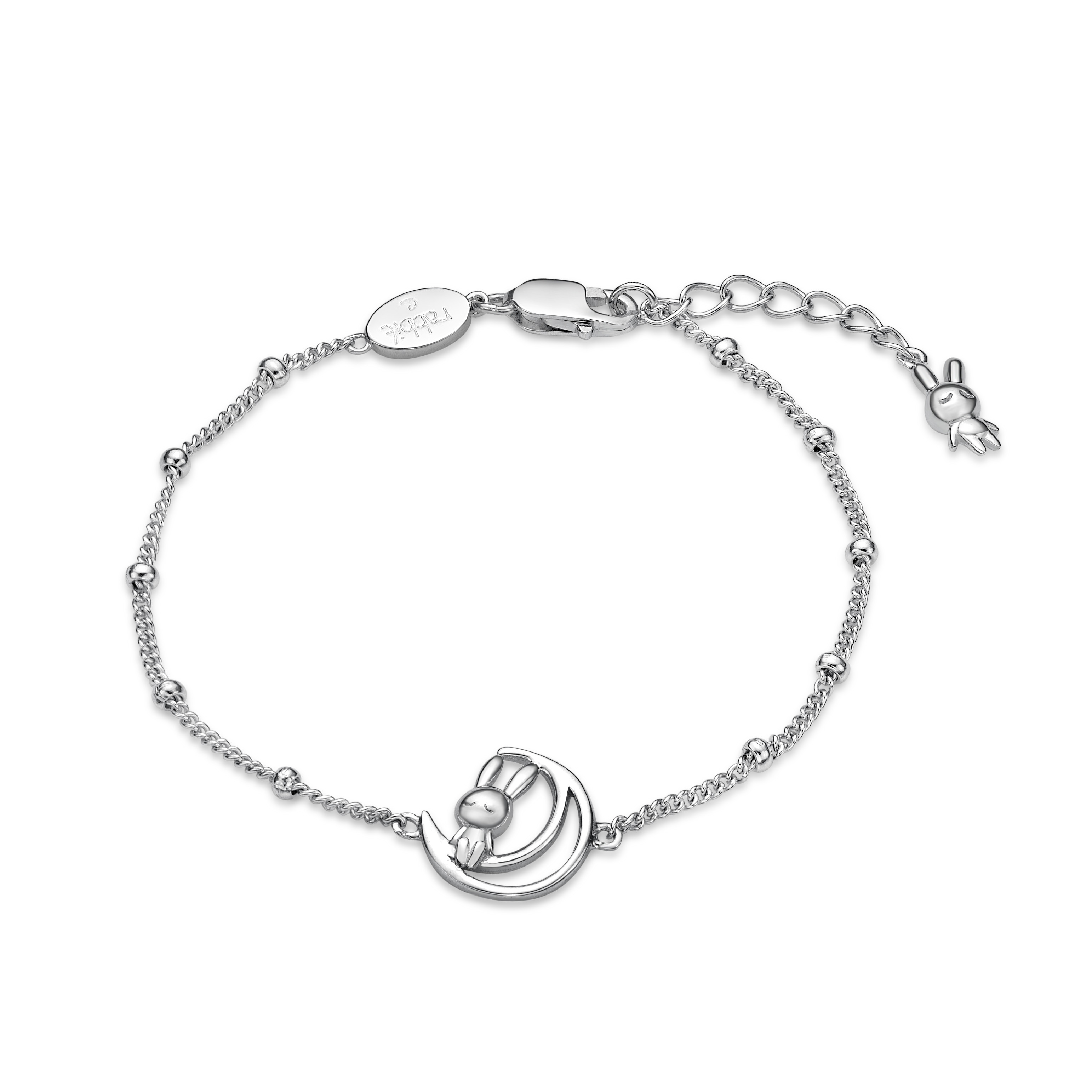 Rabbit C with moon post Bracelet