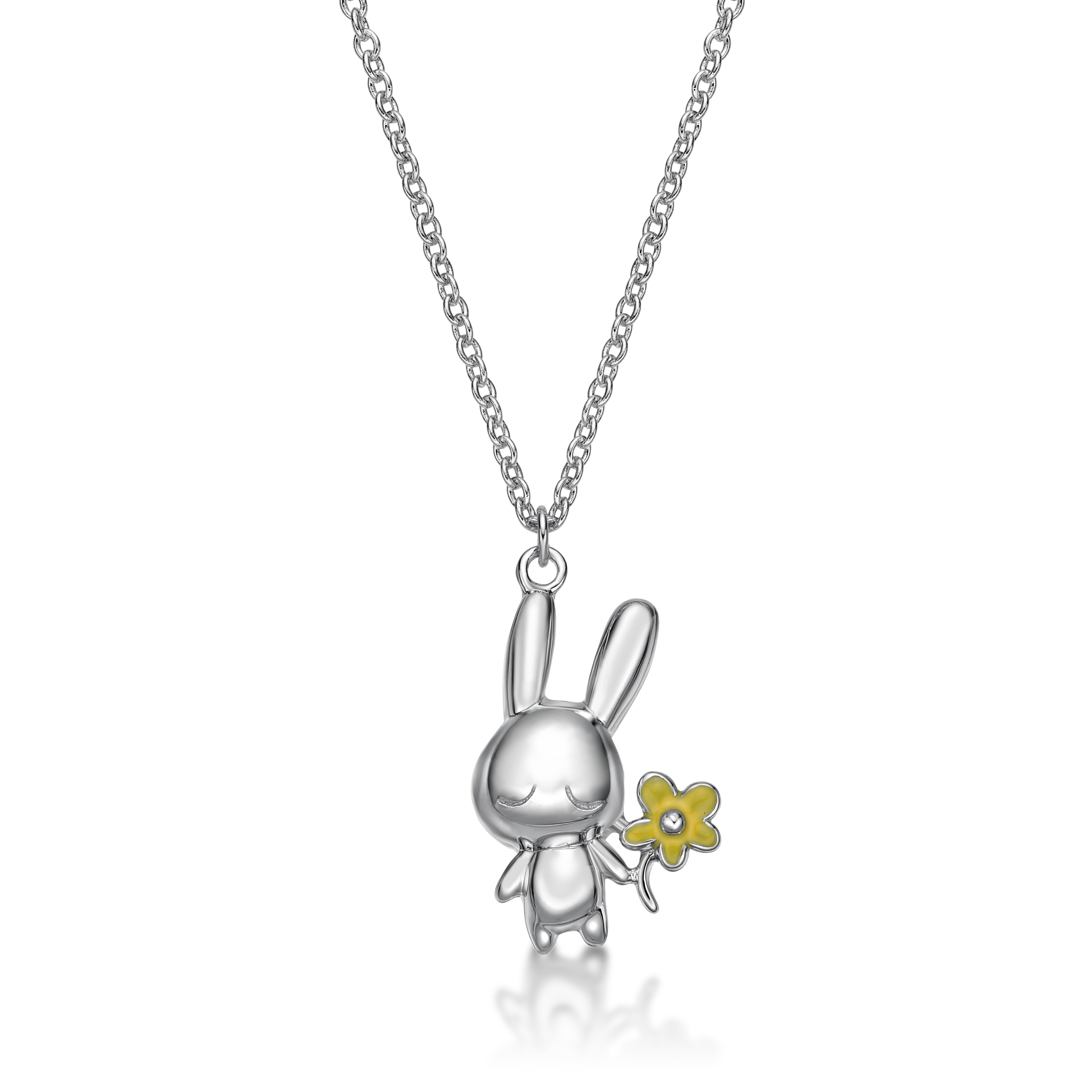 Rabbit C Icon & Flower Pendant With Necklace