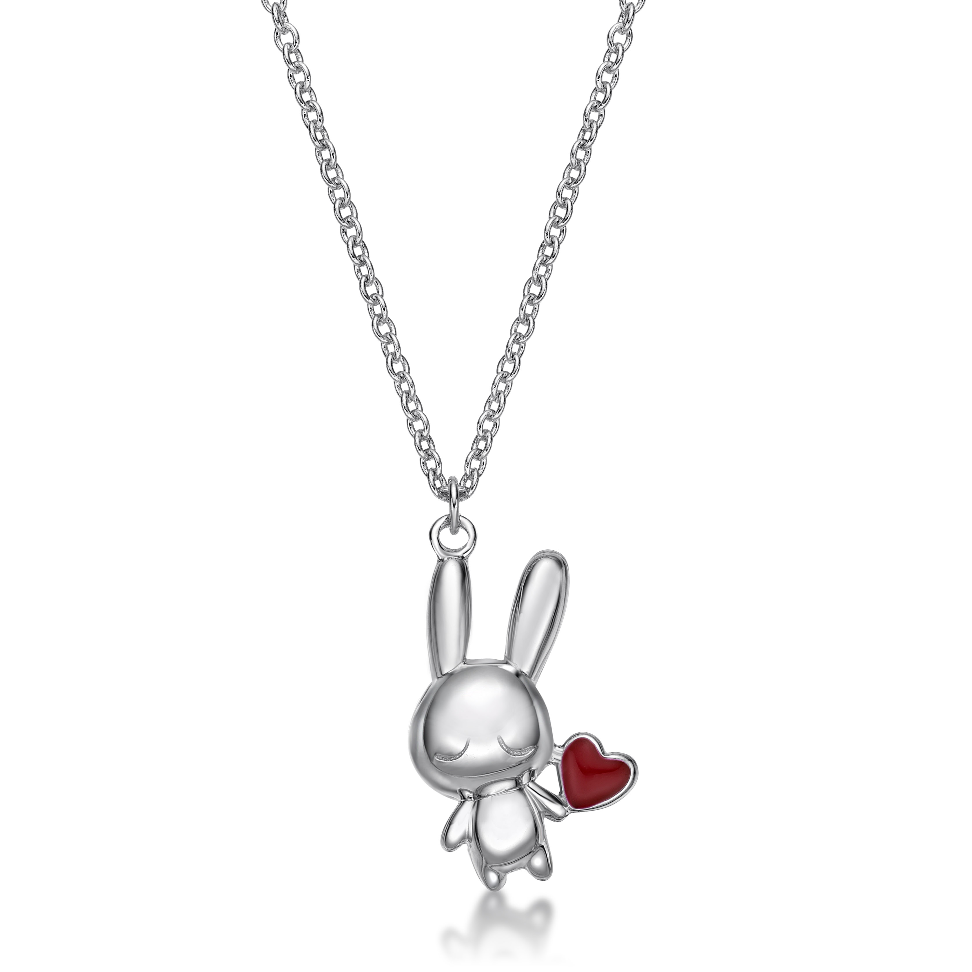 Rabbit C Icon & Heart Pendant with Necklace