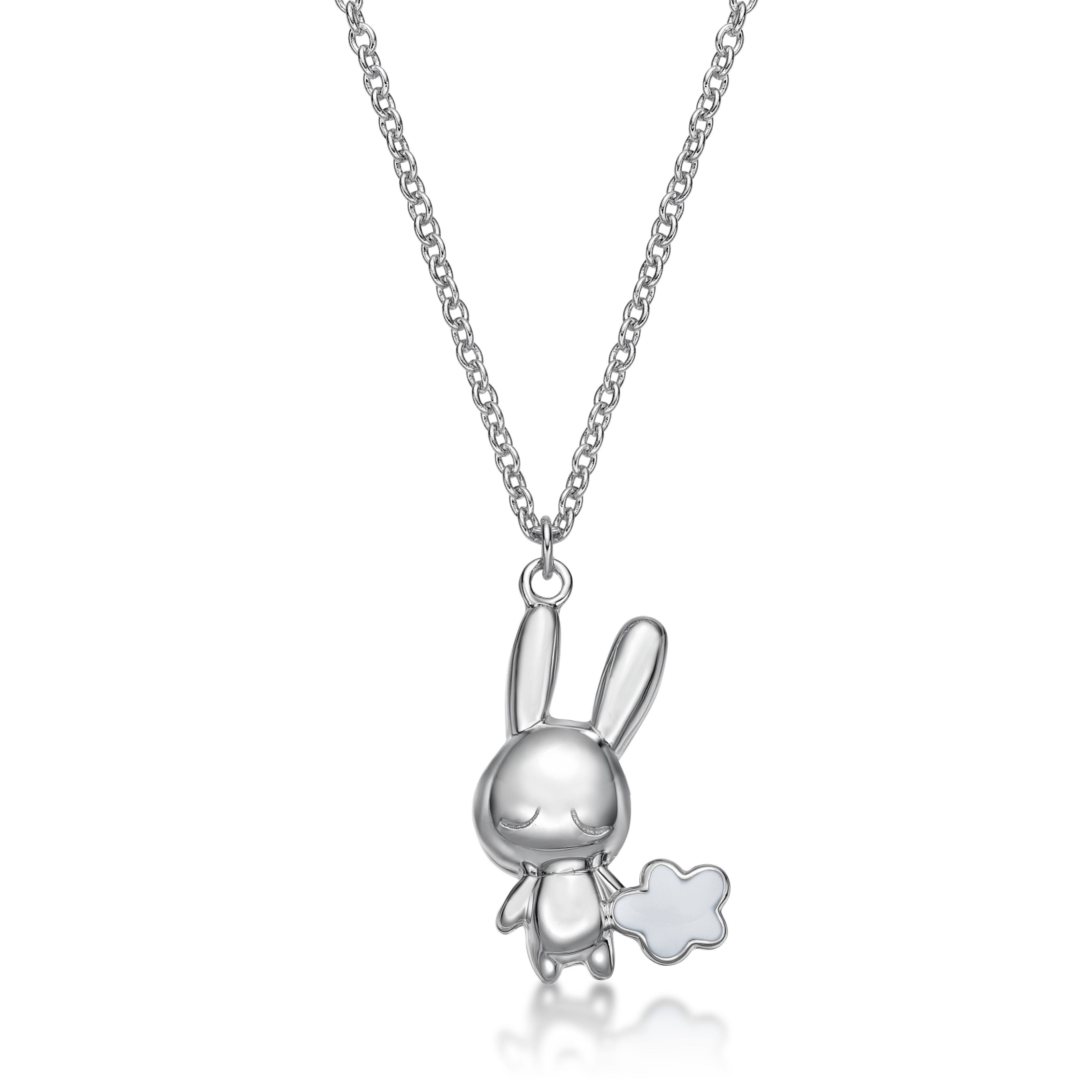Rabbit C Icon & Cloud Pendant With Necklace
