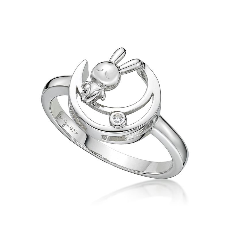 Rabbit C. on the Moon Ring in RH. plated