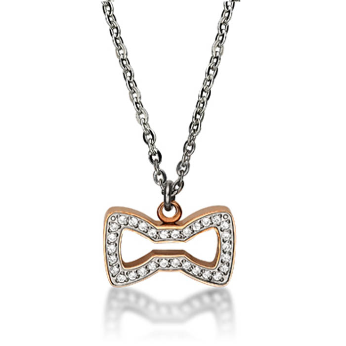 Le Petit Prince Crystal Ip Rose Gold Bow Tie Necklace