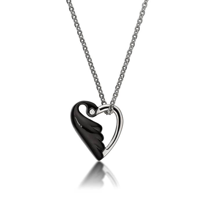 Black Lovebird In Heart Shaped With Crystal Necklace