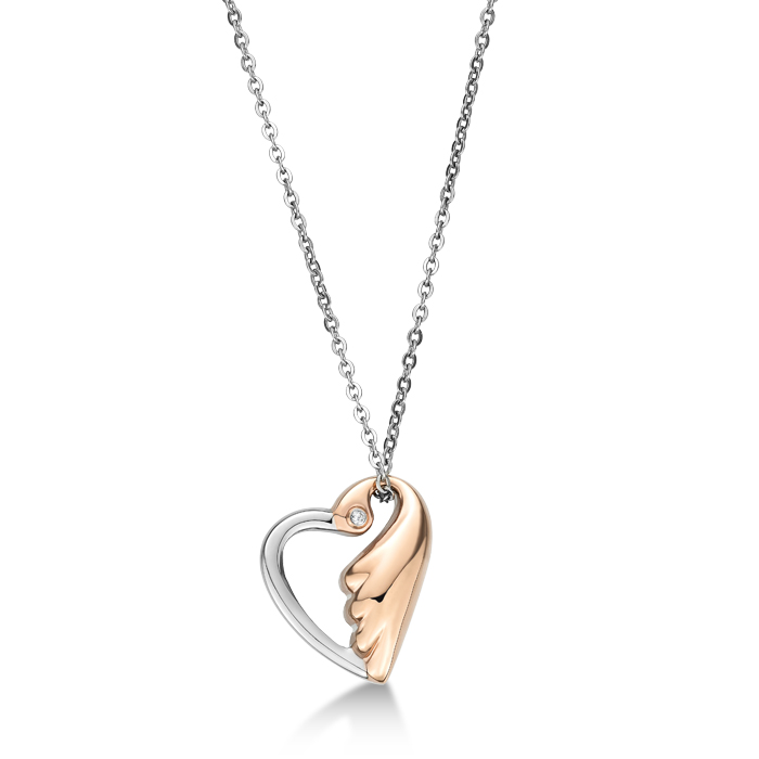 Ip Rose Gold Lovebird In Heart Shaped with Crystal Necklace