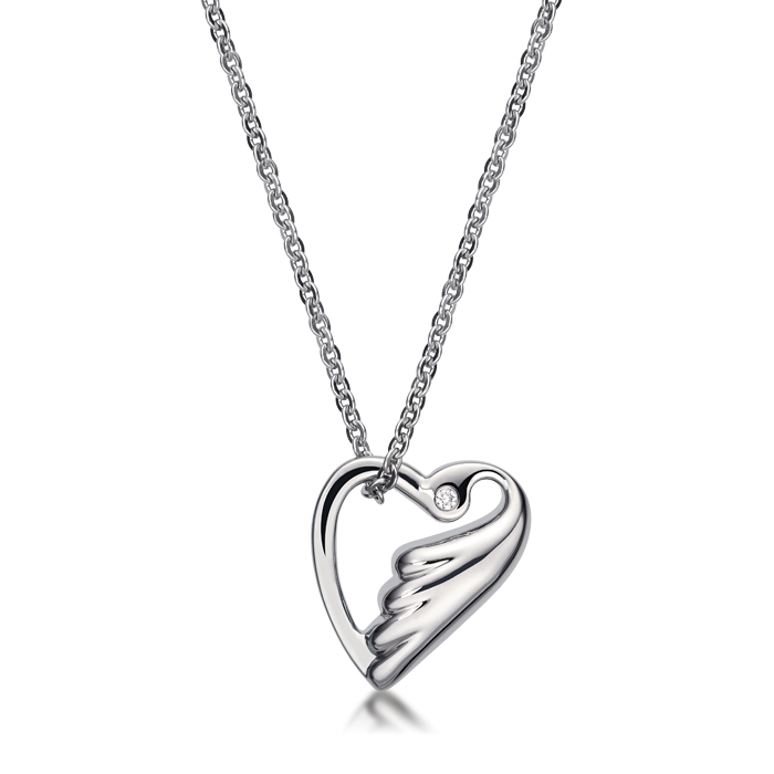 Lovebird In Heart Shaped With Crystal Necklace
