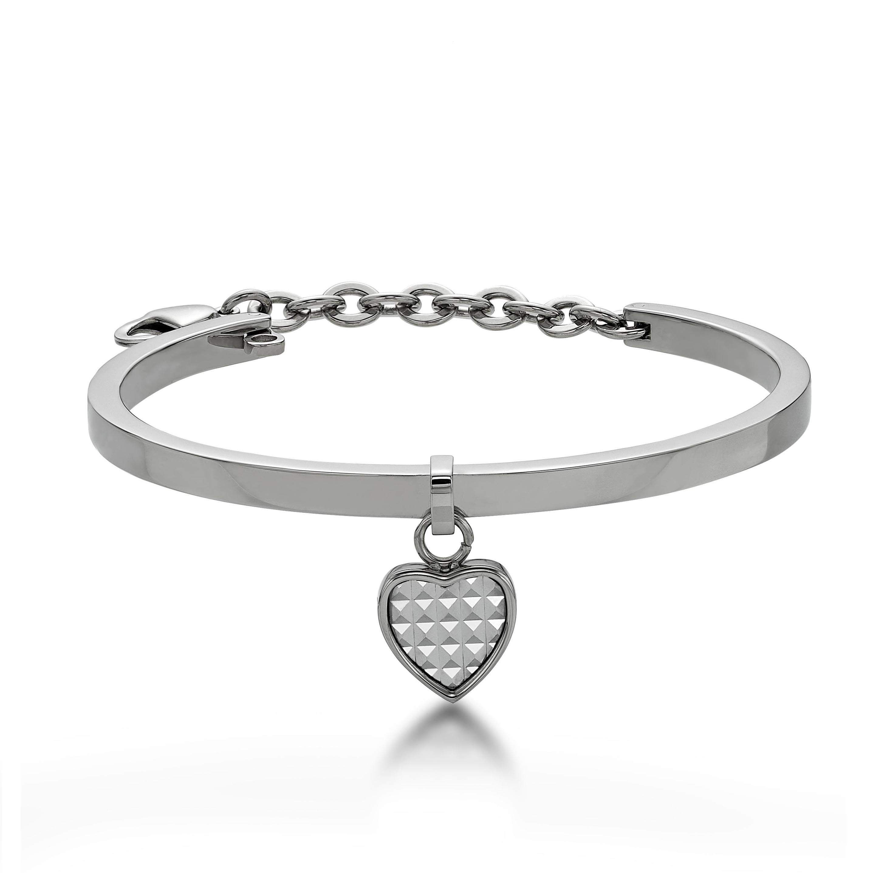 White Pyramid in Heart Bangle